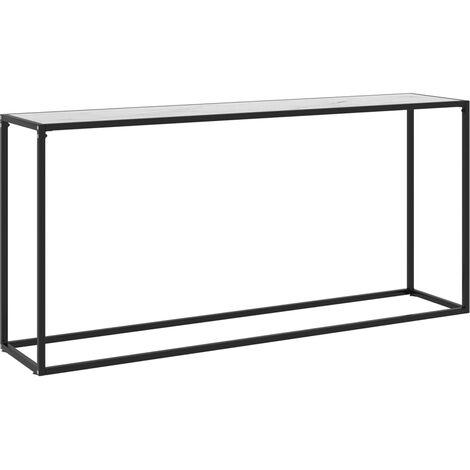 Table console Blanc 160x35x75 cm Verre trempé