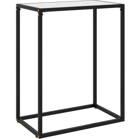 Table console Blanc 60x35x75 cm Verre trempé