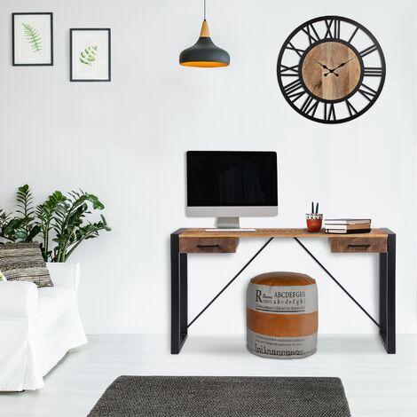 Table console de salon entrée bureau 2 tiroirs bois massif métal WOMO-DESIGN®