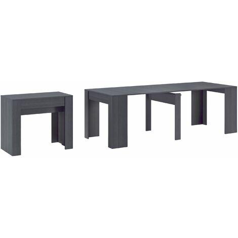 Table Console extensible avec rallonges, jusqu'à 237 cm, couleur grise.