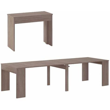Table Console extensible avec rallonges, jusqu'à 300 cm, chêne foncé brossé