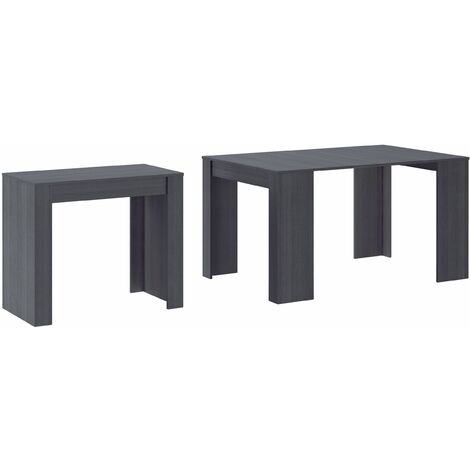 Table Console extensible avec rallonges,jusqu'à 140 cm, couleur grise.