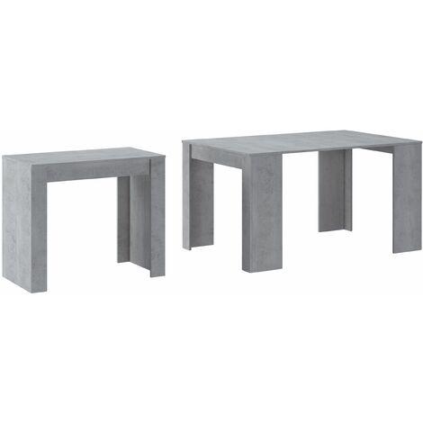 Table console extensible jusqu'à 140 cm, couleur CIMENT, Dimensions fermée : 90x50x78 cm.