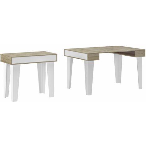 Table Console extensible rallonges Nordic K jusqu'à 300cm,Blanc Mat-Chêne brossé