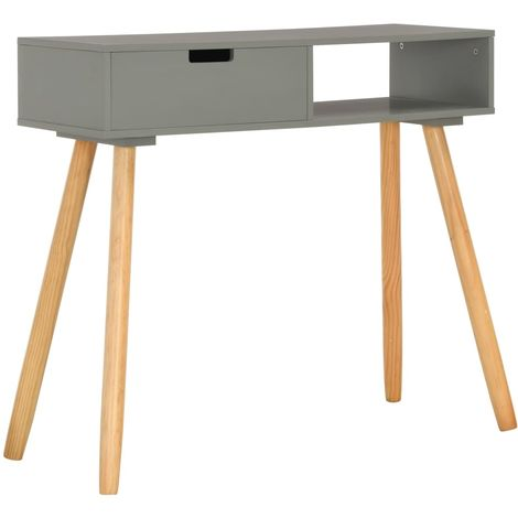 Table console Gris 80x30x72 cm Pin massif
