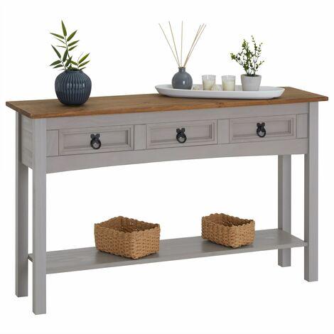 """main image of """"Table console RAMON table d'appoint rectangulaire en pin massif gris et brun avec 3 tiroirs, meuble d'entrée style mexicain en bois"""""""