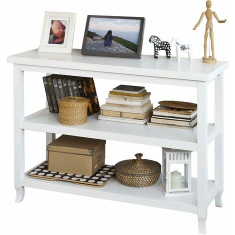 Table Console table d'appoint 2 étagères L110cm x H80cm x P40cm - Blanc FSB06-W SoBuy®