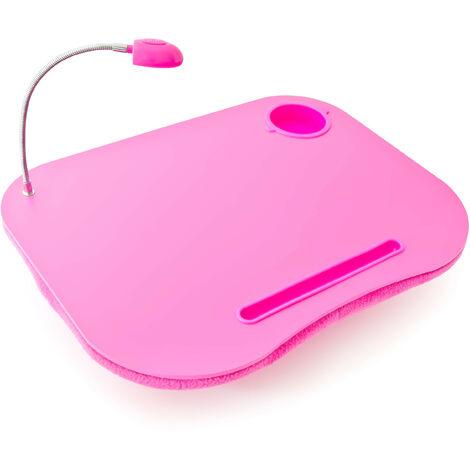 Table Coussin pour Ordinateur Portable PC Support Genoux Lampe LED Porte Gobelet, rose