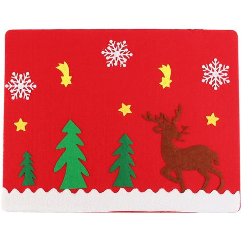 Table Cover Placemat Holder Cutlery Santa Claus Ornament Party Gifts Hasaki