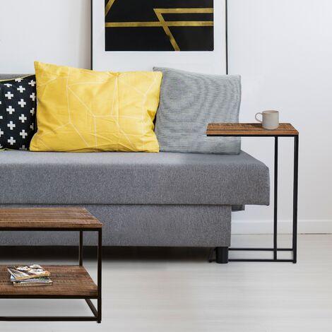 Table d'appoint à café bout de canapé bois massif métal 40x25x60 cm WOMO-DESIGN®