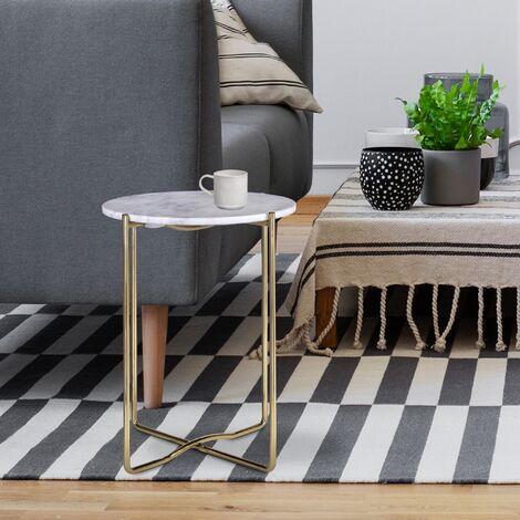 Table basse design en verre revêtement métallique argent Ø 75 cm WOMO-DESIGN®