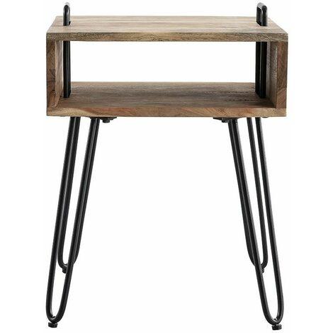 Table D Appoint Avec Rangement En Acacia Massif Et Metal Noir Alvin 45816