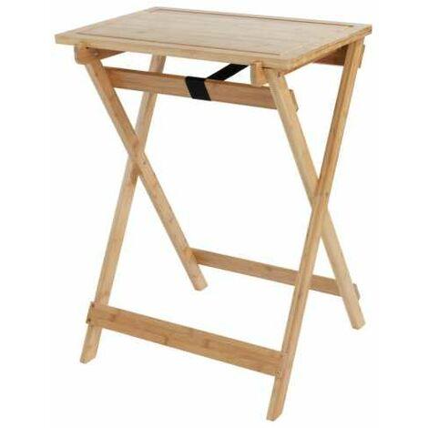"""main image of """"Table d'appoint bois pliable, 2en1 avec plateau amovible, planche à découper, bambou, Lugo"""""""