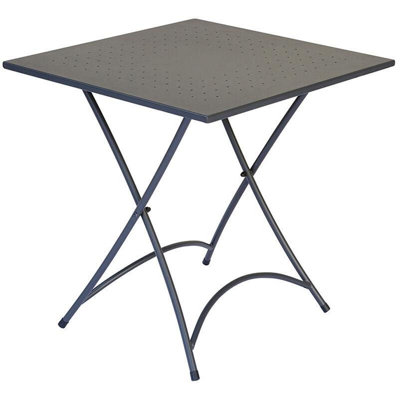 Table d'appoint carrée de jardin en fer forgé coloris gris anthracite - Dim : H 74 x L 70 x P 70 cm