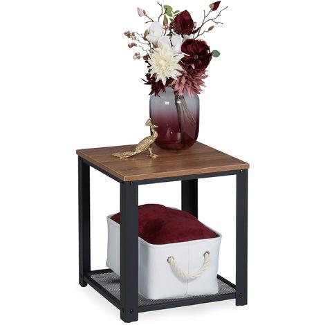 Table d'appoint Carrée Dessus de table en aspect boisé, Supports grillagés, acier, HlP 44 x 40 x 40 cm, marron