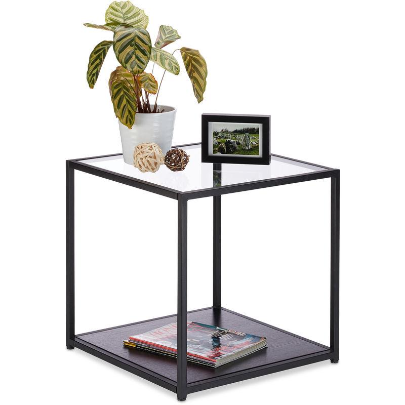 Table D Appoint Carree En Verre Bois Cadre En Metal Robuste Table Basse De Salon Hlp 50x50x50 Cm Noir