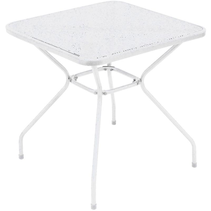 Table d'appoint de jardin en fer forgé coloris blanc - Dim : H 72 x L 70 x P 70 cm