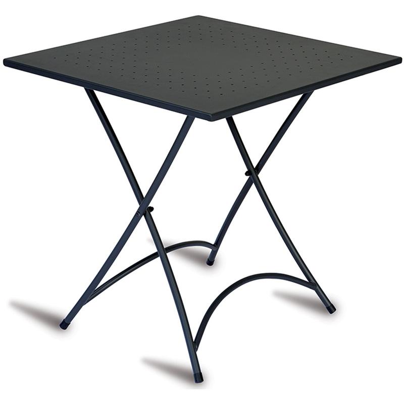 Pegane - Table d'appoint de jardin en fer forgé coloris noir - Dim : H 74 x L 70 x P 70 cm