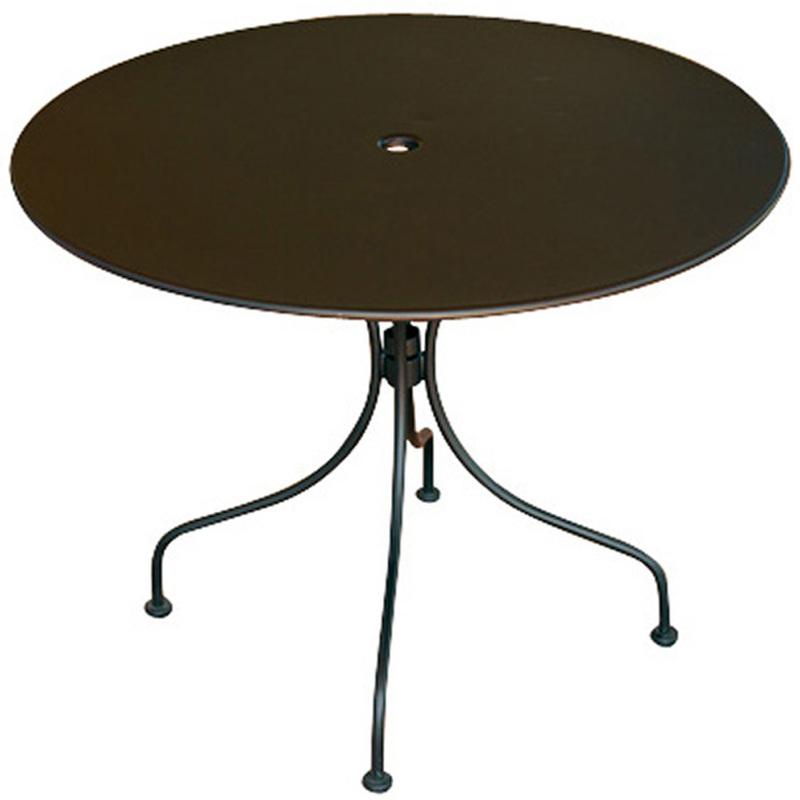 Table d'appoint de jardin en fer forgé coloris noir - Dim : H 74 x L 90 x Ø 96 cm