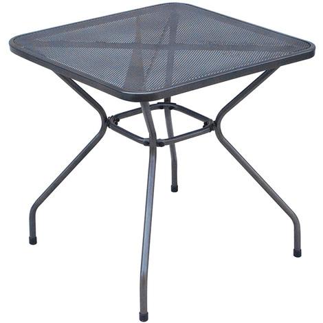 Table De Jardin Fer.Table D Appoint De Jardin En Fer Forge Et Metal Ajoure Coloris Gris Anthracite Dim H 72 X L 70 X P 70 Cm