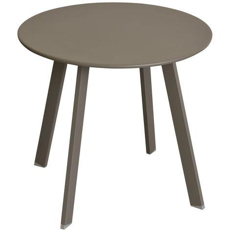 Table d'appoint de jardin Saona - Diam. 50 cm - Marron tonka