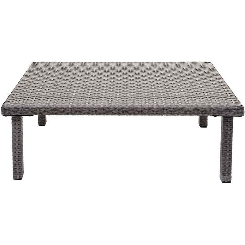 Table d'appoint en polyrotin HHG-878, table de jardin/balcon, gastronomie 80x50cm ~ gris