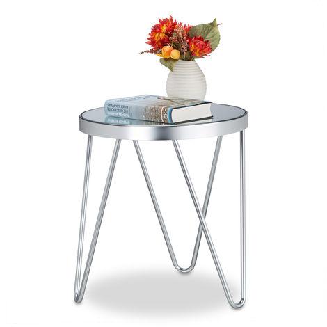 Table d\'appoint en Verre Chromé Miroir, Petite Table basse de Salon ...