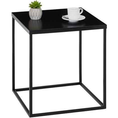 Table d\'appoint HILAR table basse de salon table à café bout de canapé  design retro vintage industriel, plateau carré en métal noir