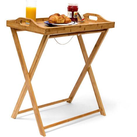 Table d'appoint pliante pliable en bambou desserte cuisine plateau amovible H x l x P: 63,5 x 55 x 35 cm Table de service balcon Terrasse en bois, couleur naturelle