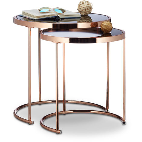table d 39 appoint ronde console table basse plateau verre noir cuivre lot de 2 cuivre 2100212811905