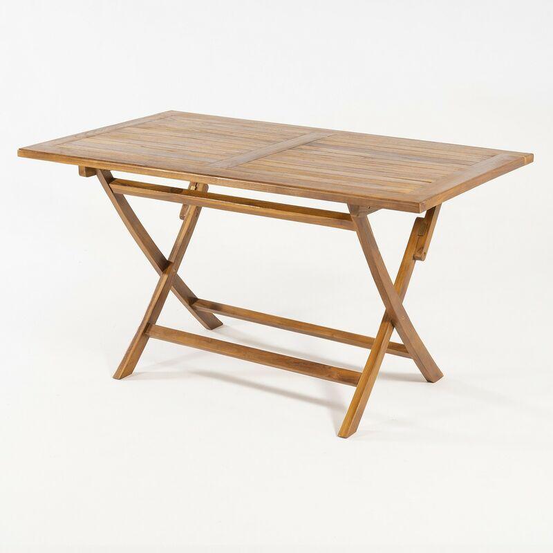 Table pliante en teck Rectangular 140x80 cm