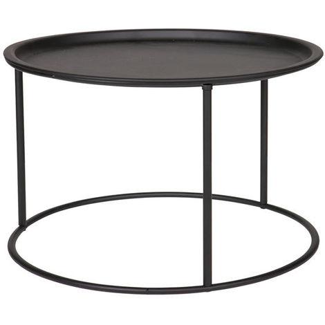 Table d'appoint ronde en métal noir D56 ABEL