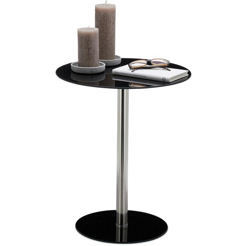 Table d'appoint ronde en Verre et Inox, Table Bout de canapé décoratif HLP 53 x 43 x 43 cm, noir