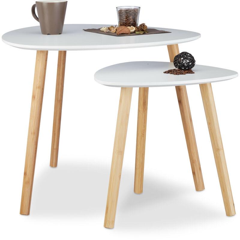 acheter en ligne 61eb0 b5c52 Table d'appoint ronde lot de 2 en bois blanc table gigogne nordique  scandinave, blanc nature