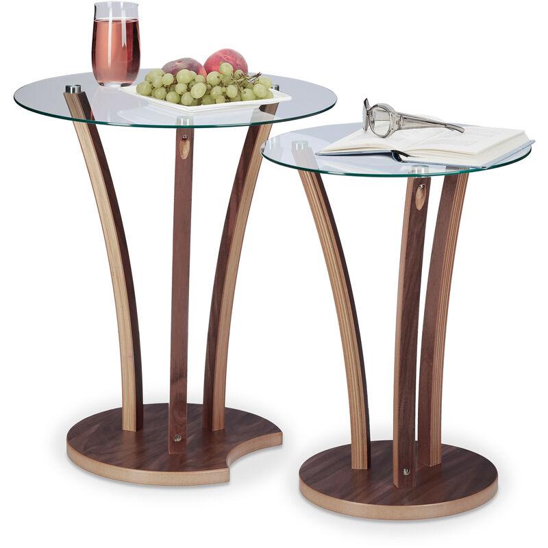Table D Appoint Ronde Lot De 2 Plateau En Verre Et Pieds En Bois Design Moderne 2 Tailles Nature