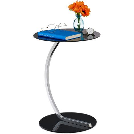 Table d'appoint, ronde, pour salon, design moderne, verre et métal,HxD; La desserte noire, 50 x 40 cm