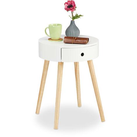 Table d'appoint ronde, Tiroir, Design scandinave, Table de Salon ou Chevet, HxØ : 52 x 40 cm, Bois, Blanc