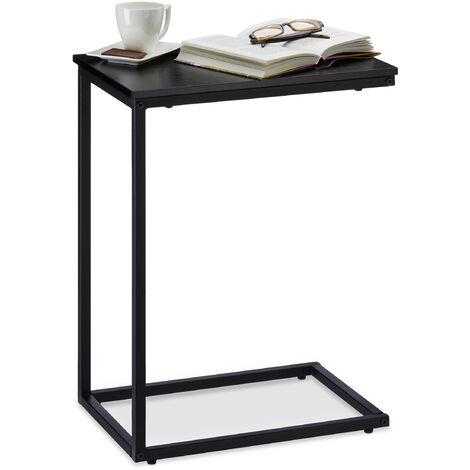 Table d'appoint, Structure Métal Robuste, Panneau Mélamine, Table de Salon Déco en U, Bout de Canapé 60cm Noir