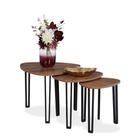 Table d'appoint,jeu de 3, design industriel,empilable, Tables gigognes 3 dimensions, métal, aspect boisé/noir