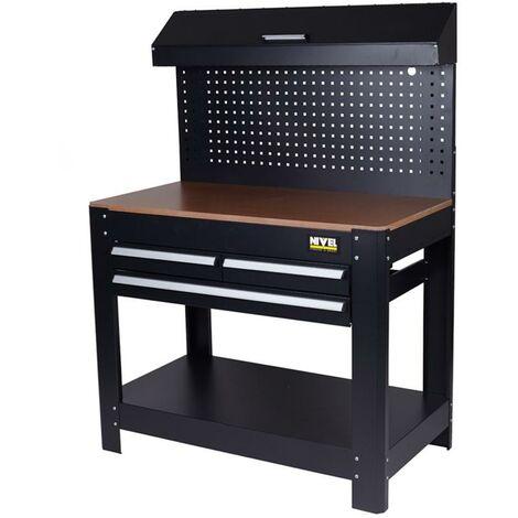Table d'atelier avec plateau 3 tiroirs 1145X635X1585Mm Noir Noir Niveau