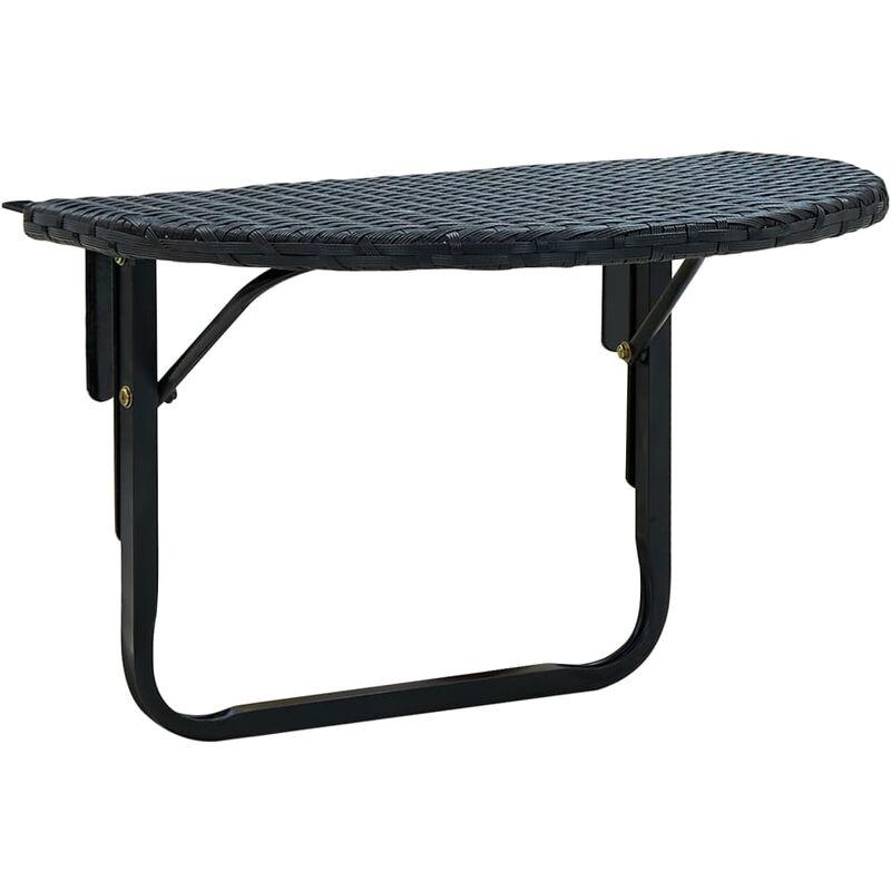 Table de balcon 60x60x32 cm Noir Résine tressée
