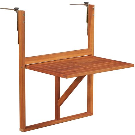 Jardin vidaXL Table sur Pied Bois dAcacia Massif Rond Terrasse Table ...