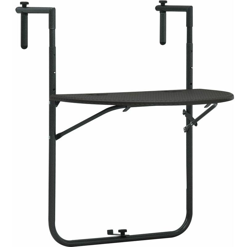Table de balcon Marron 60x64x83,5 cm Plastique Aspect de rotin