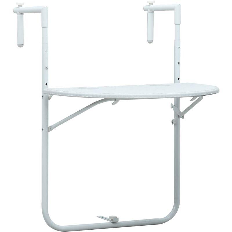 Table de Balcon Plastique Aspect de Rotin 60x64x83,5 cm Blanc