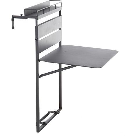 Table de balcon repliable Fira - 2 Places - Gris graphite - Gris foncé
