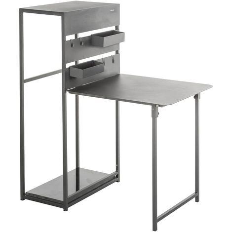 Table de balcon repliable Fira - 3 Personnes - Gris graphite - Gris