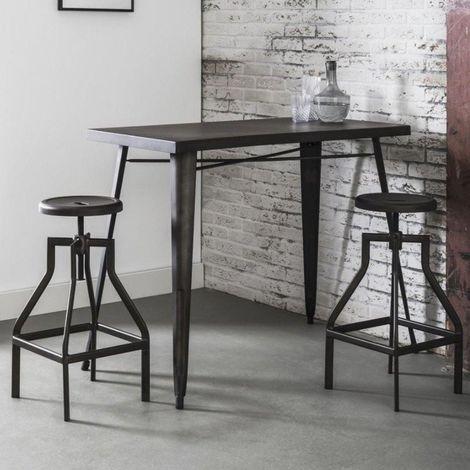 Table de bar 120*60 cm INDUSTRY style industriel en acier - -