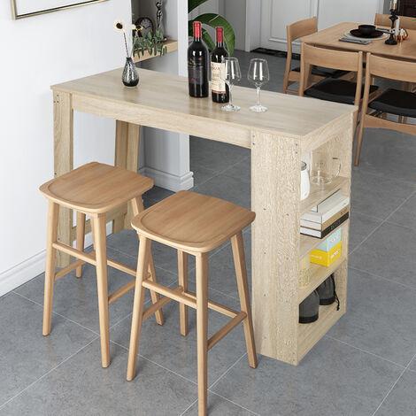 Table de Bar 2 à 4 Personnes, avec Rangements, Mange-Debout Table Haute de Cuisine