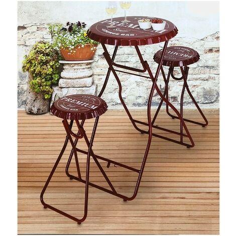 Table de bar avec deux chaises - rouge