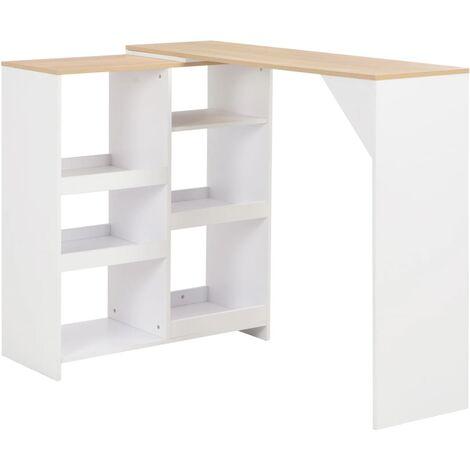 Table de bar avec tablette amovible Blanc 138 x 40 x 120 cm